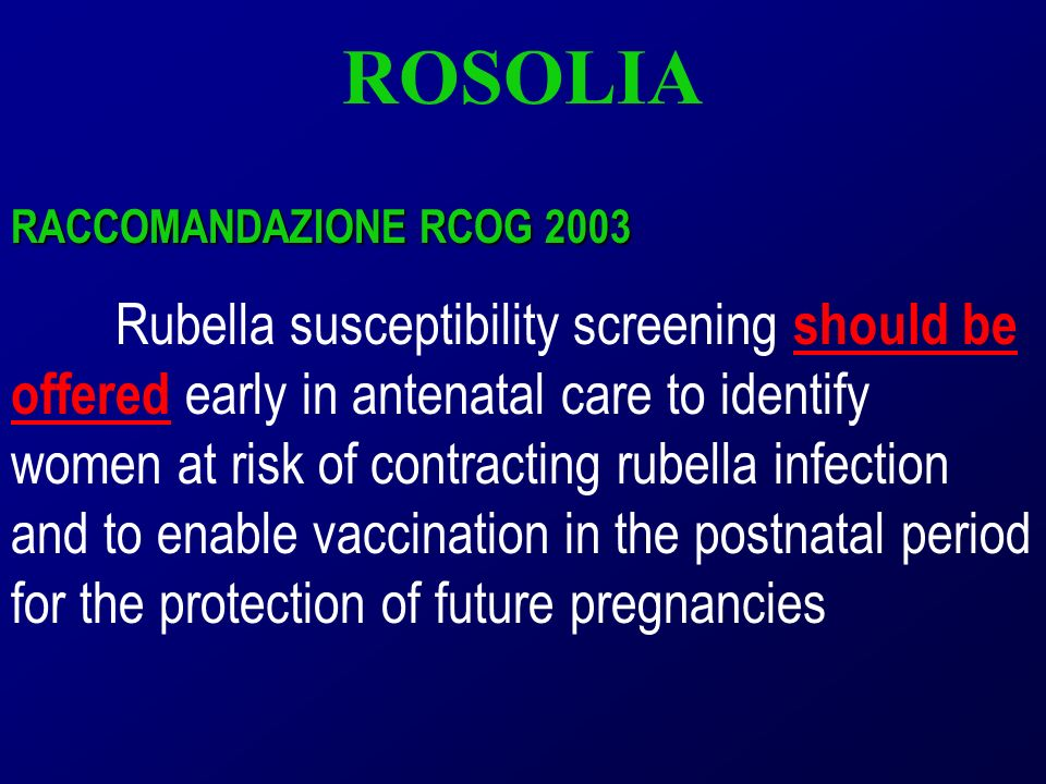 ROSOLIA RACCOMANDAZIONE RCOG 2003