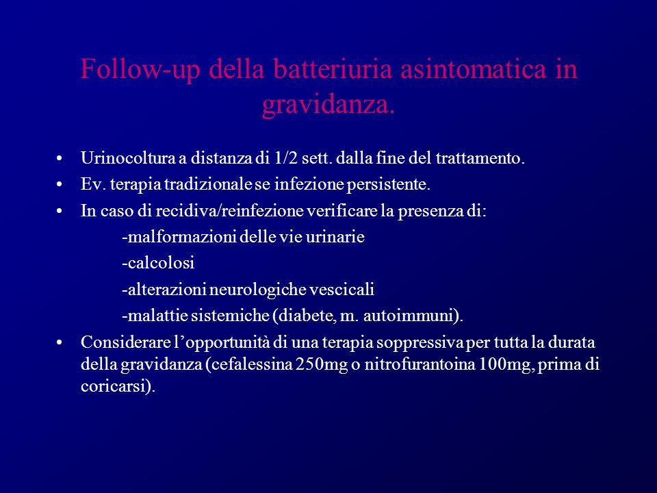 Follow-up della batteriuria asintomatica in gravidanza.