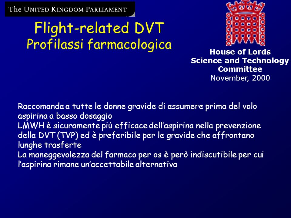 Flight-related DVT Profilassi farmacologica