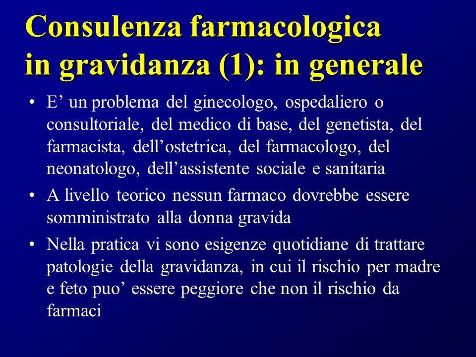 Consulenza farmacologica in gravidanza (1): in generale