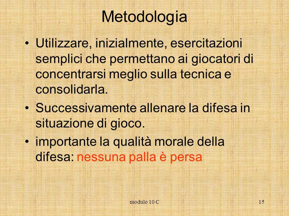 Metodologia Utilizzare, inizialmente, esercitazioni semplici che permettano ai giocatori di concentrarsi meglio sulla tecnica e consolidarla.