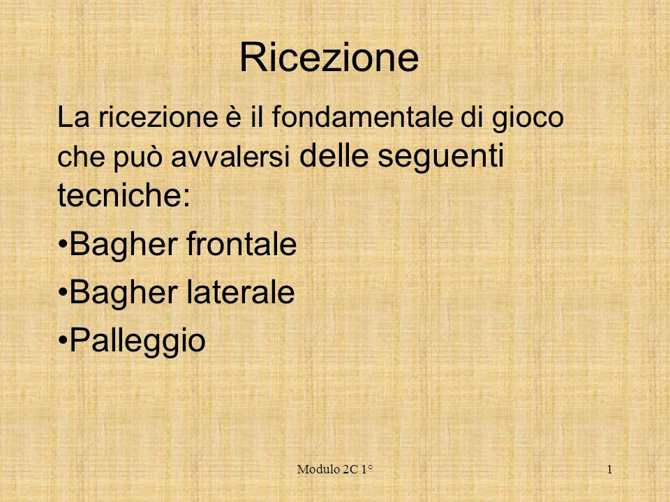 Ricezione Bagher frontale Bagher laterale Palleggio