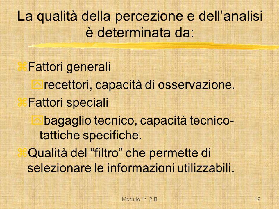 La qualità della percezione e dell'analisi è determinata da: