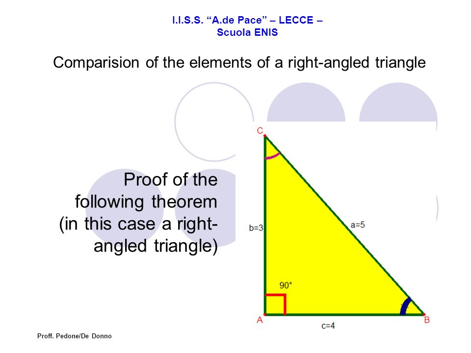 Comparision of the elements of a right-angled triangle