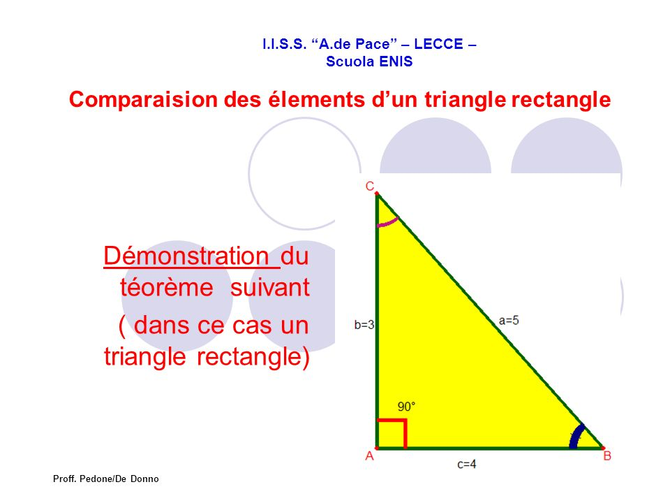 Comparaision des élements d'un triangle rectangle