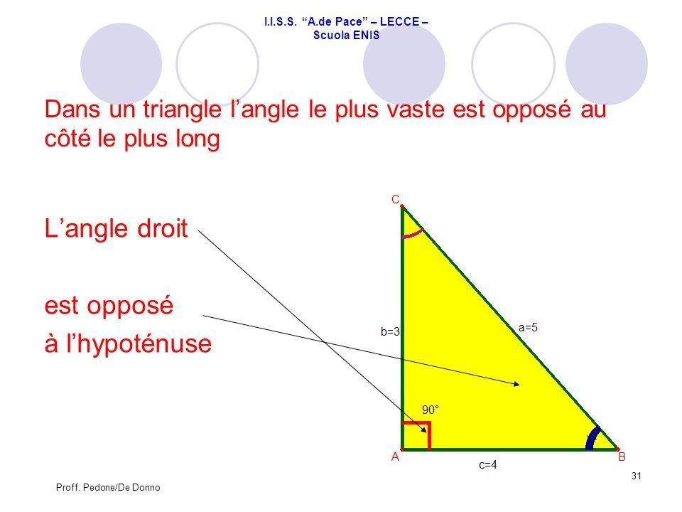 Dans un triangle l'angle le plus vaste est opposé au côté le plus long