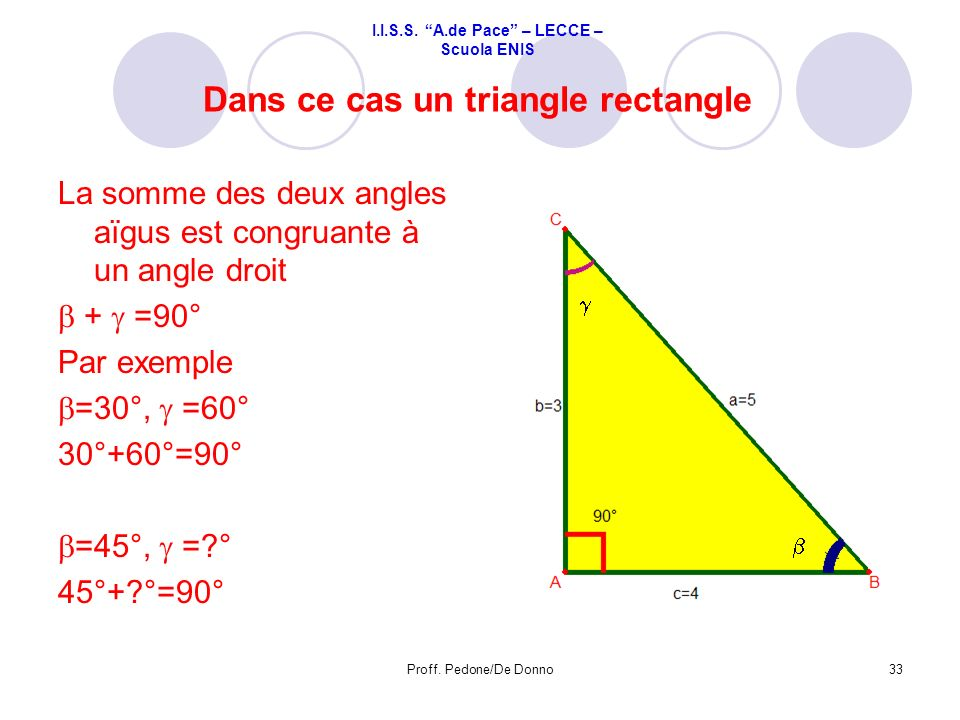 Dans ce cas un triangle rectangle