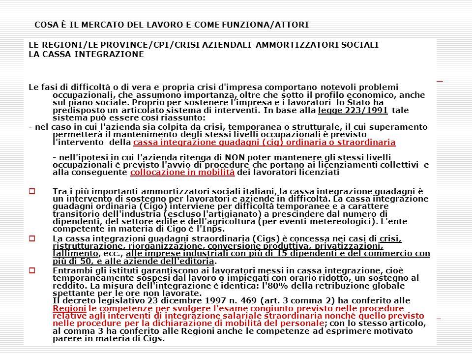 COSA È IL MERCATO DEL LAVORO E COME FUNZIONA/ATTORI