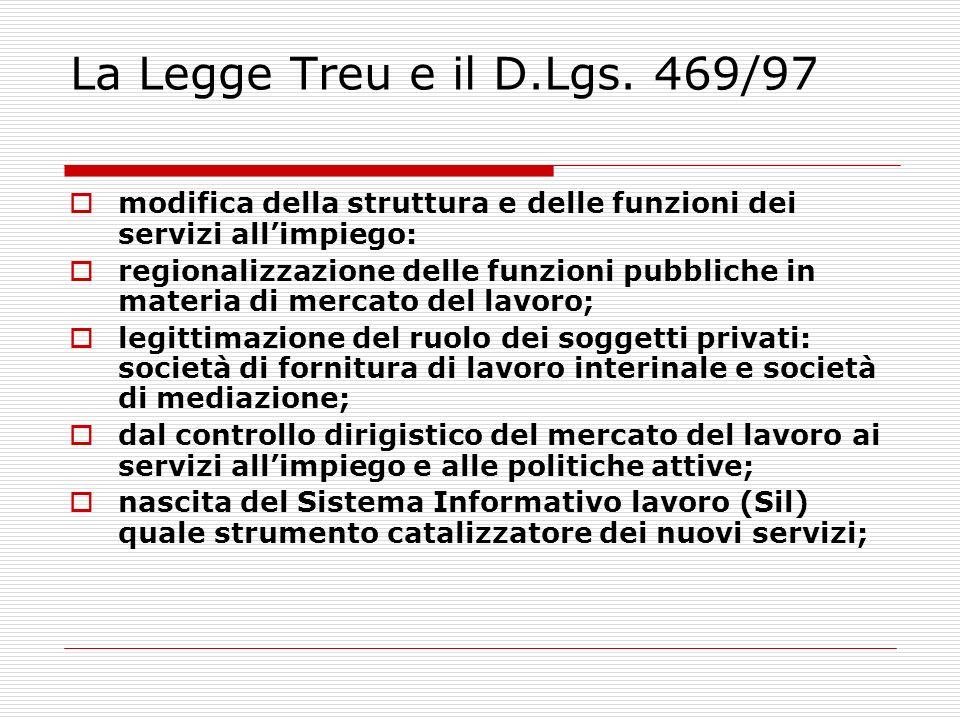La Legge Treu e il D.Lgs. 469/97modifica della struttura e delle funzioni dei servizi all'impiego: