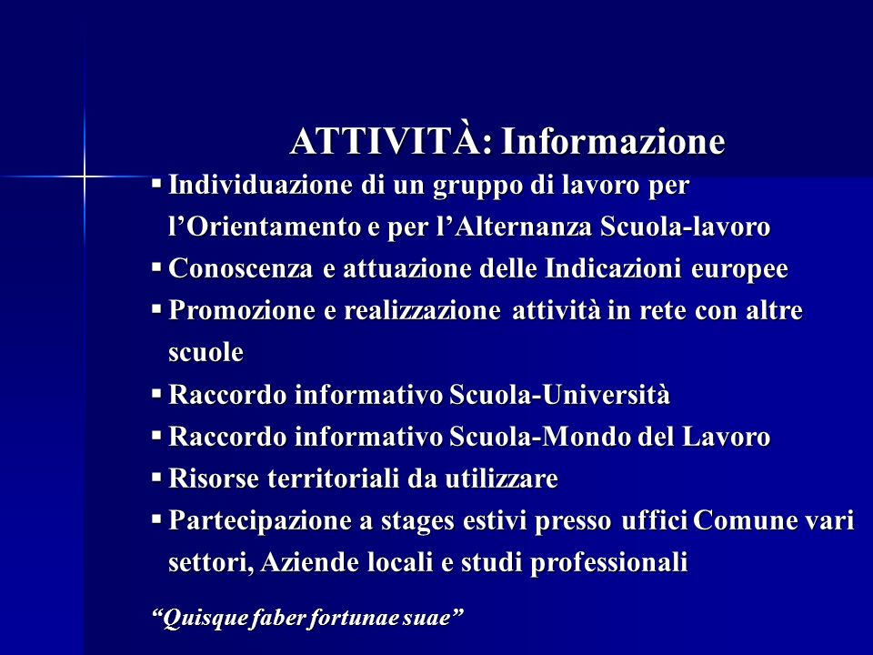 ATTIVITÀ: Informazione