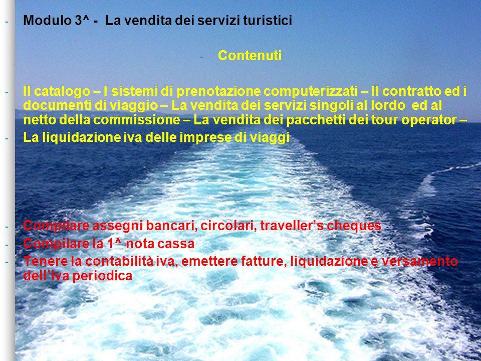 Modulo 3^ - La vendita dei servizi turistici