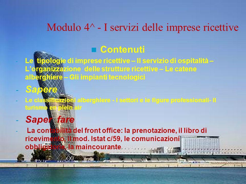 Modulo 4^ - I servizi delle imprese ricettive