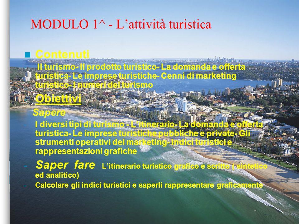 MODULO 1^ - L'attività turistica
