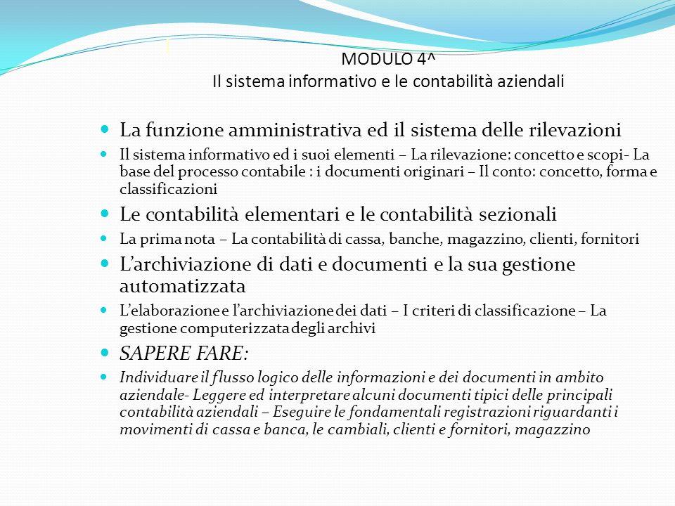 MODULO 4^ Il sistema informativo e le contabilità aziendali