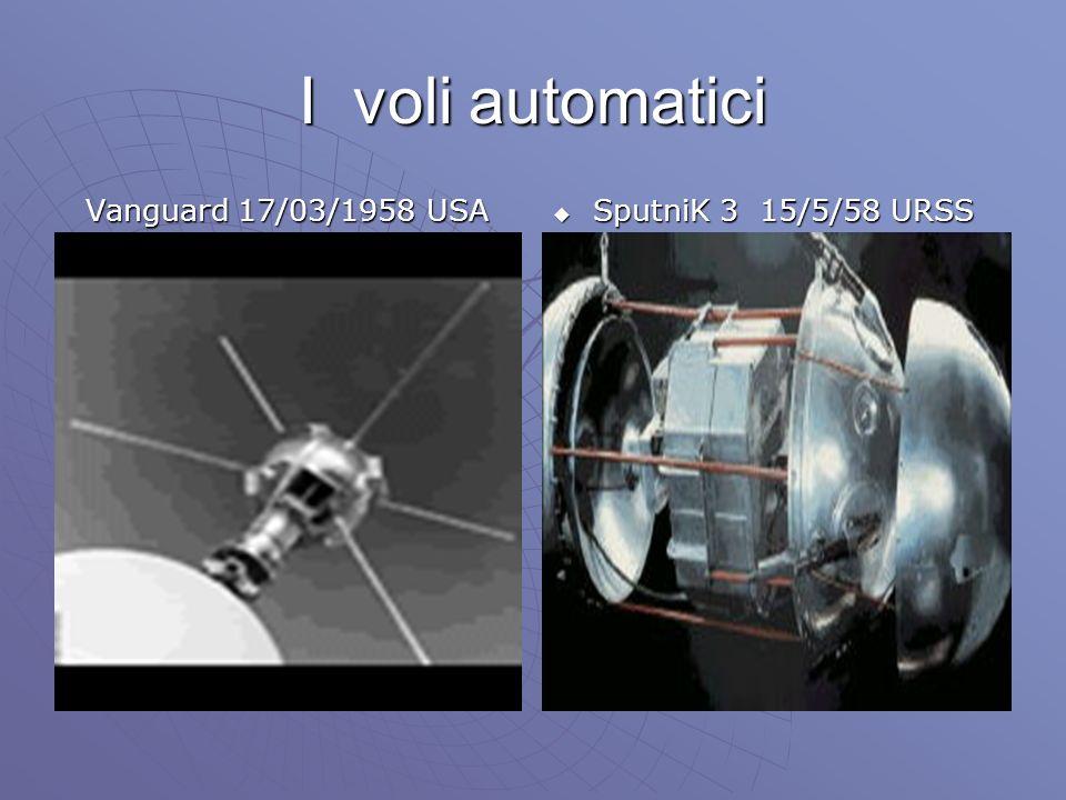 I voli automatici Vanguard 17/03/1958 USA SputniK 3 15/5/58 URSS