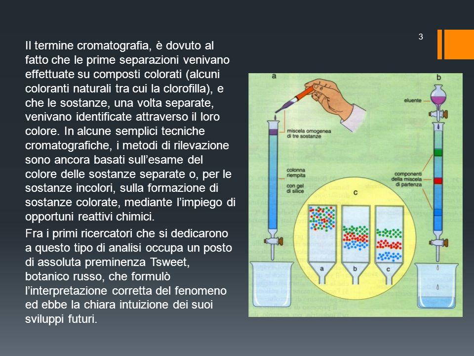 Il termine cromatografia, è dovuto al fatto che le prime separazioni venivano effettuate su composti colorati (alcuni coloranti naturali tra cui la clorofilla), e che le sostanze, una volta separate, venivano identificate attraverso il loro colore. In alcune semplici tecniche cromatografiche, i metodi di rilevazione sono ancora basati sull'esame del colore delle sostanze separate o, per le sostanze incolori, sulla formazione di sostanze colorate, mediante l'impiego di opportuni reattivi chimici.