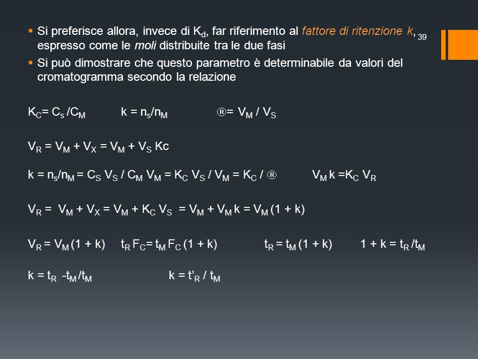 Si preferisce allora, invece di Kd, far riferimento al fattore di ritenzione k, espresso come le moli distribuite tra le due fasi