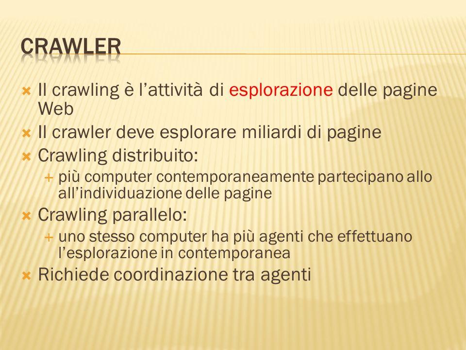 Crawler Il crawling è l'attività di esplorazione delle pagine Web