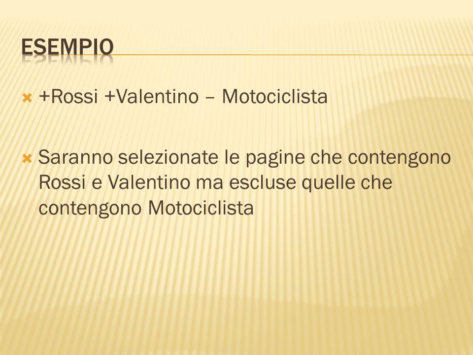 Esempio +Rossi +Valentino – Motociclista
