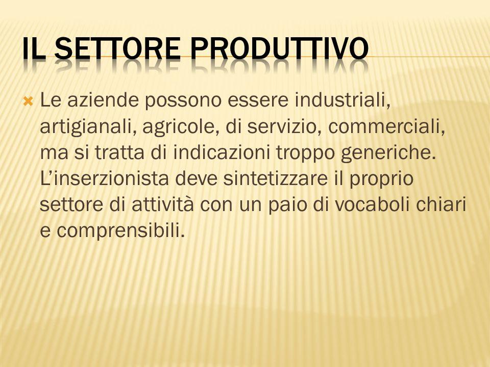 Il settore produttivo
