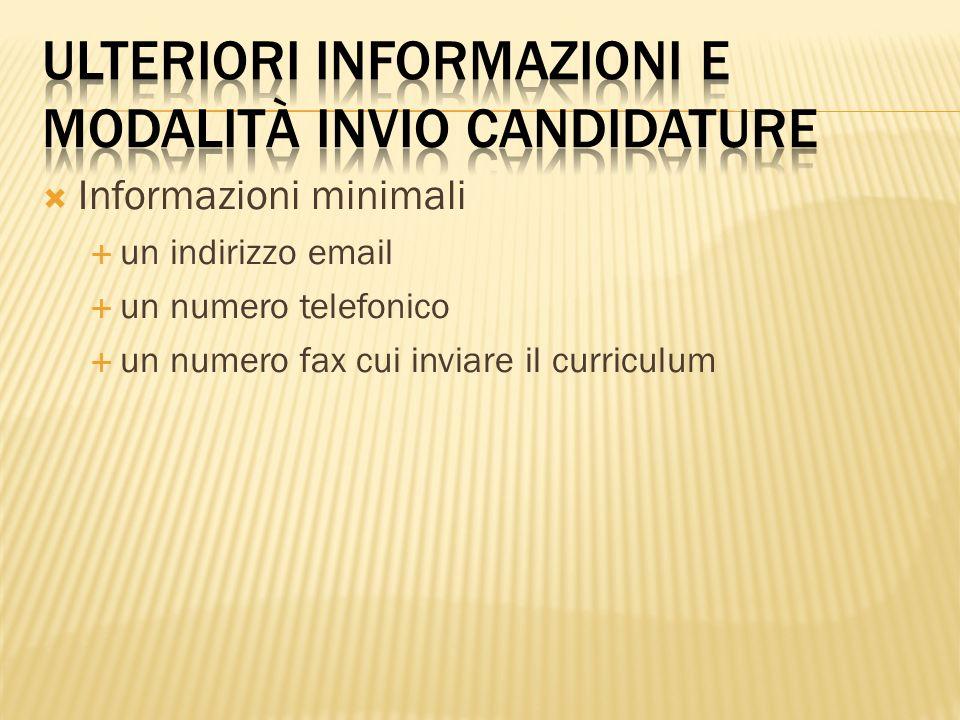 ulteriori informazioni e modalità invio candidature
