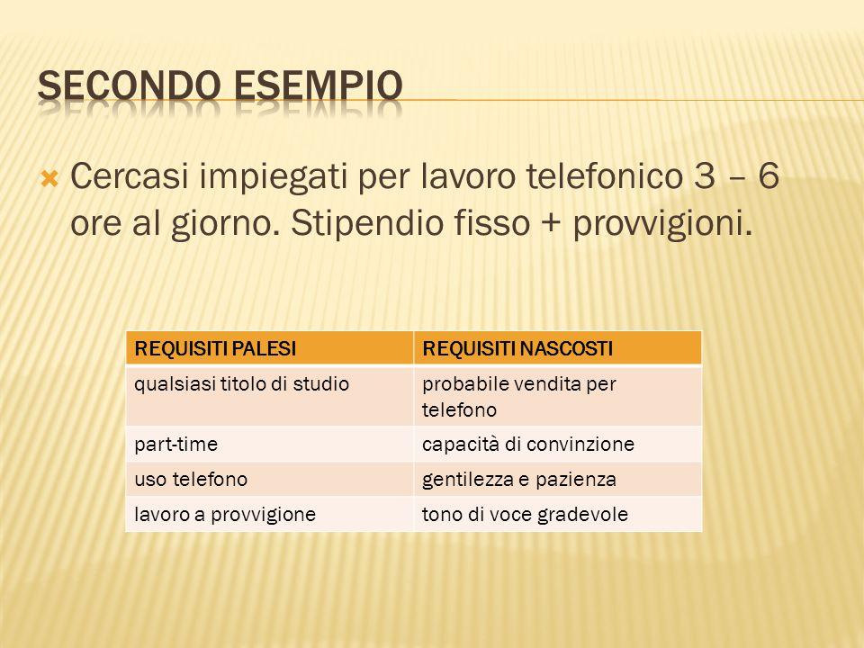 Secondo esempio Cercasi impiegati per lavoro telefonico 3 – 6 ore al giorno. Stipendio fisso + provvigioni.