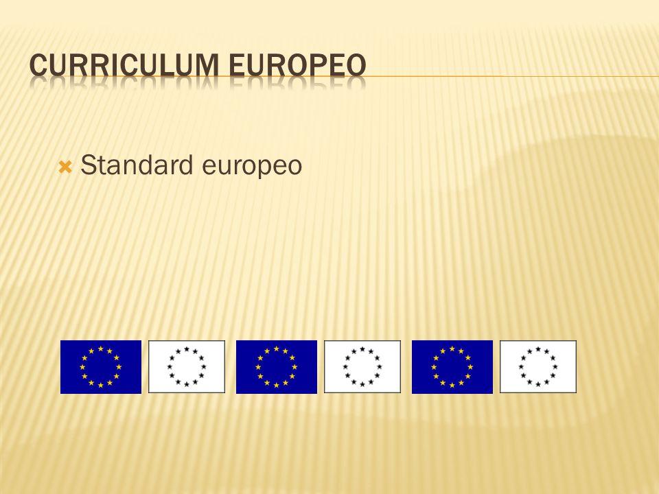 Curriculum europeo Standard europeo