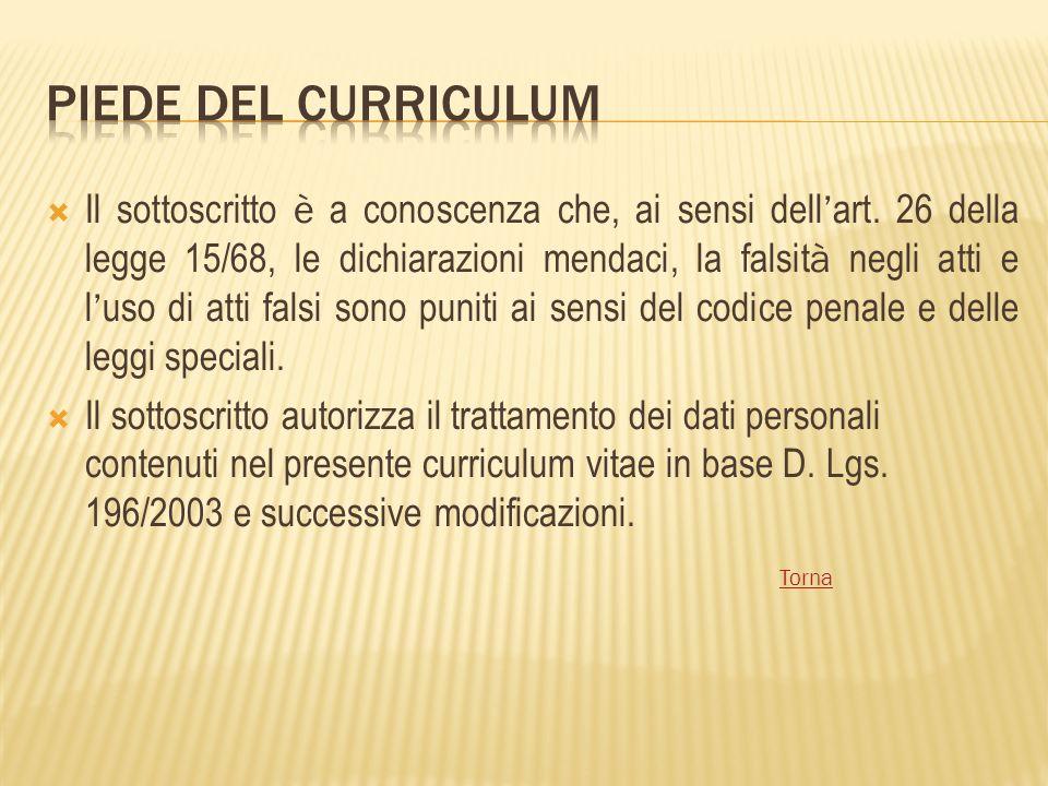 Piede del curriculum