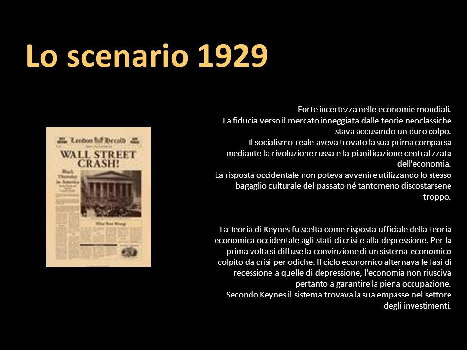 Lo scenario 1929 Forte incertezza nelle economie mondiali.