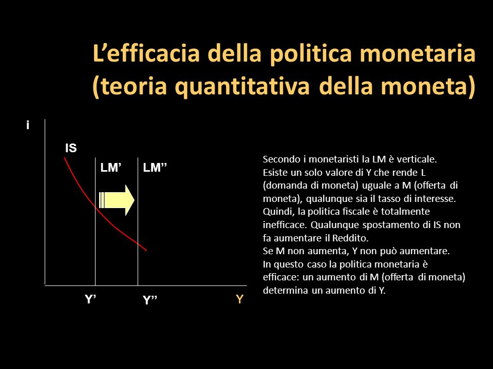 L'efficacia della politica monetaria (teoria quantitativa della moneta)