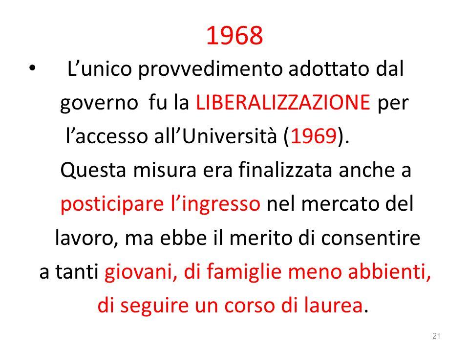 1968 L'unico provvedimento adottato dal