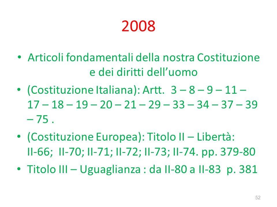2008 Articoli fondamentali della nostra Costituzione e dei diritti dell'uomo.