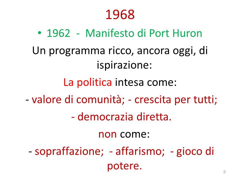 1968 1962 - Manifesto di Port Huron