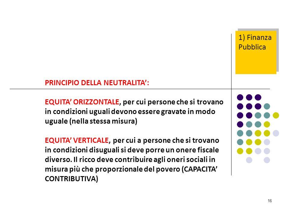 1) Finanza Pubblica PRINCIPIO DELLA NEUTRALITA':
