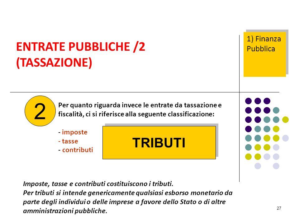 2 ENTRATE PUBBLICHE /2 (TASSAZIONE) TRIBUTI 1) Finanza Pubblica