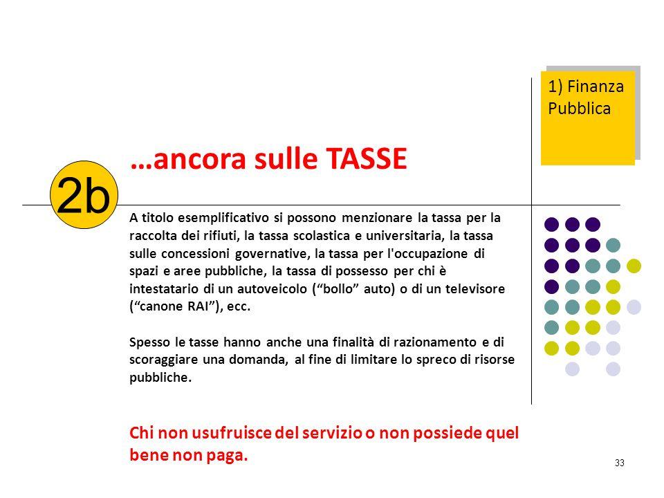 2b …ancora sulle TASSE 1) Finanza Pubblica