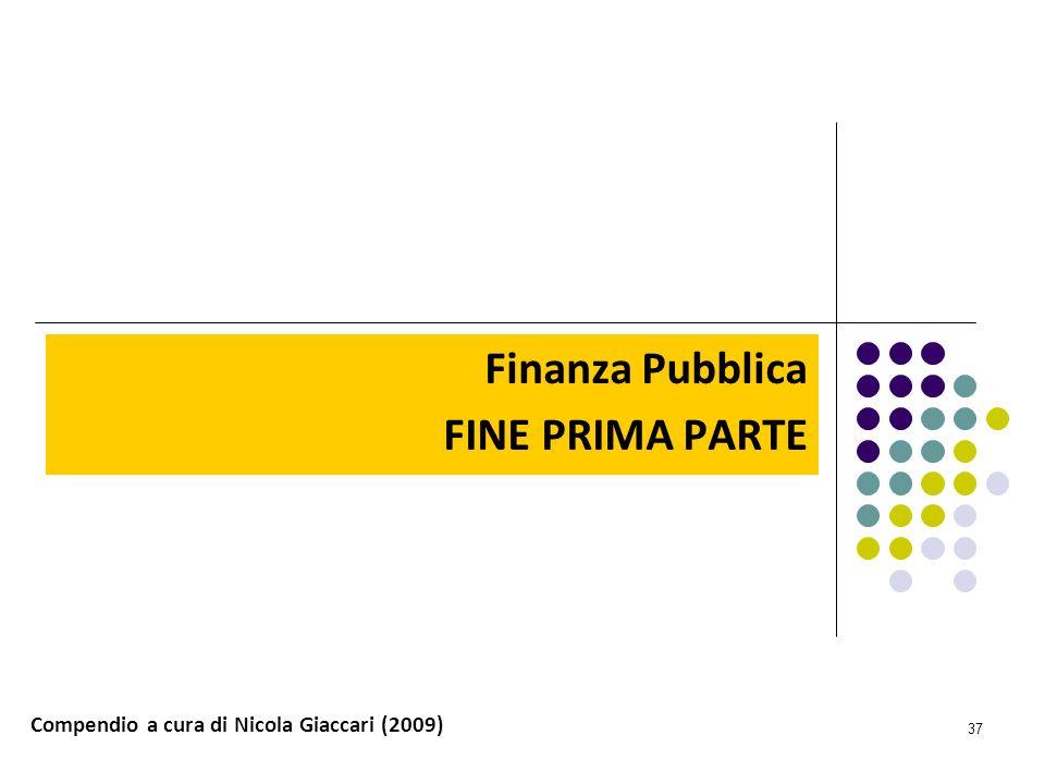 Finanza Pubblica FINE PRIMA PARTE
