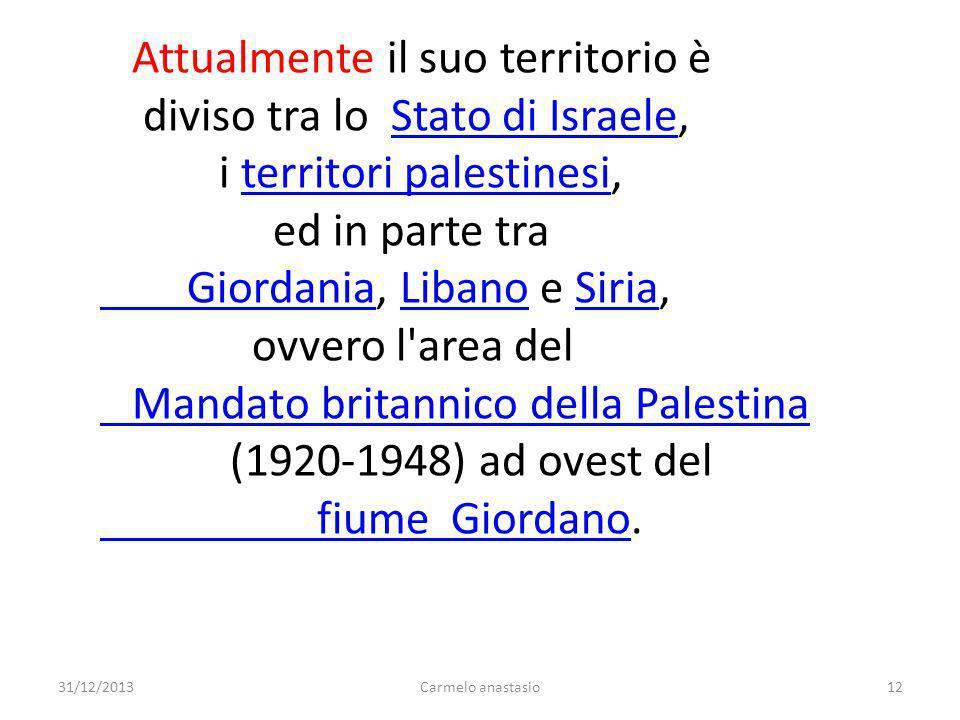 Attualmente il suo territorio è diviso tra lo Stato di Israele,
