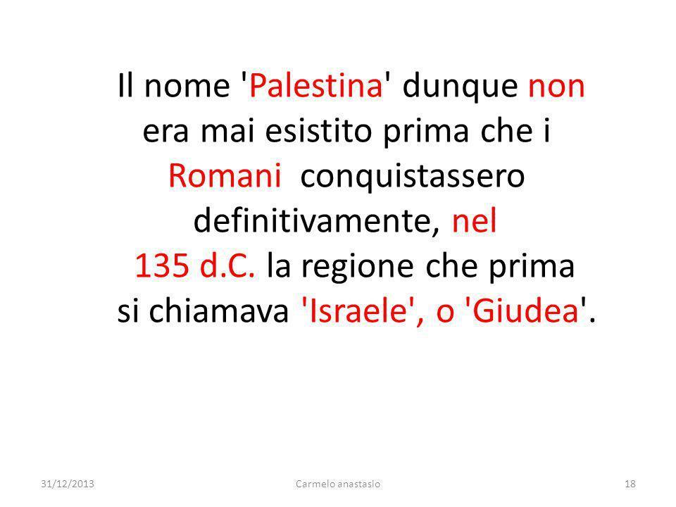 Il nome Palestina dunque non era mai esistito prima che i