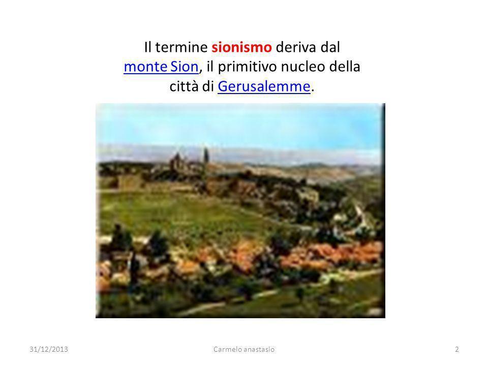 Il termine sionismo deriva dal monte Sion, il primitivo nucleo della città di Gerusalemme.