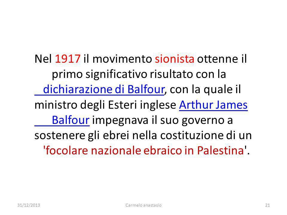 Nel 1917 il movimento sionista ottenne il
