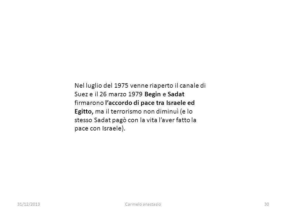 Nel luglio del 1975 venne riaperto il canale di Suez e il 26 marzo 1979 Begin e Sadat firmarono l'accordo di pace tra Israele ed Egitto, ma il terrorismo non diminuì (e lo stesso Sadat pagò con la vita l'aver fatto la pace con Israele).