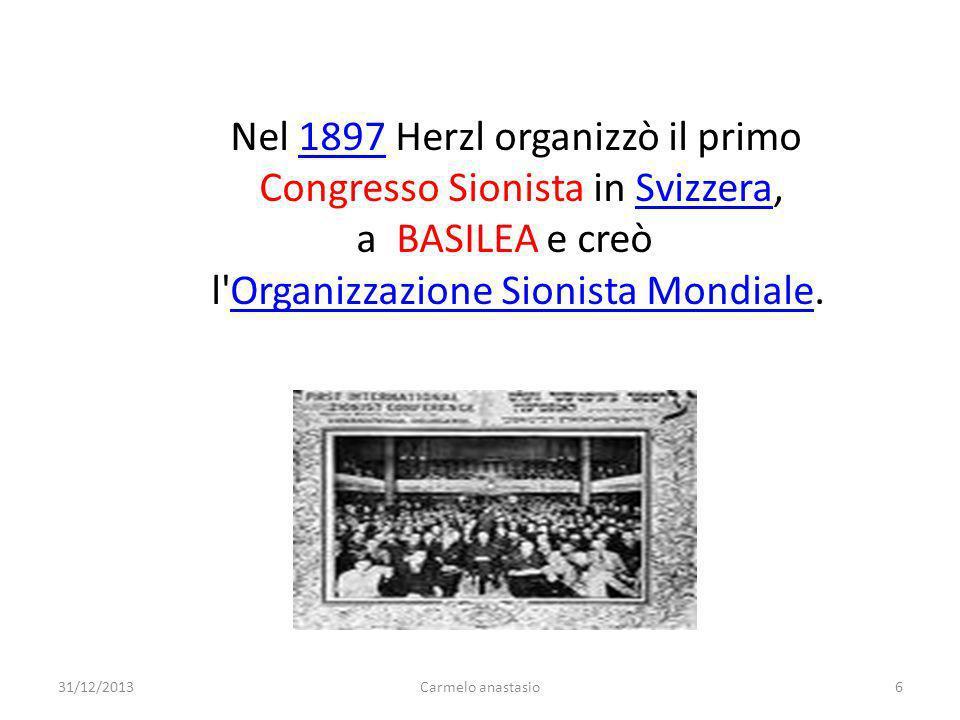 Nel 1897 Herzl organizzò il primo Congresso Sionista in Svizzera,