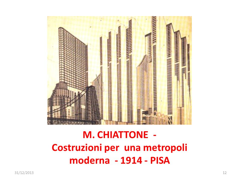 M. CHIATTONE - Costruzioni per una metropoli moderna - 1914 - PISA