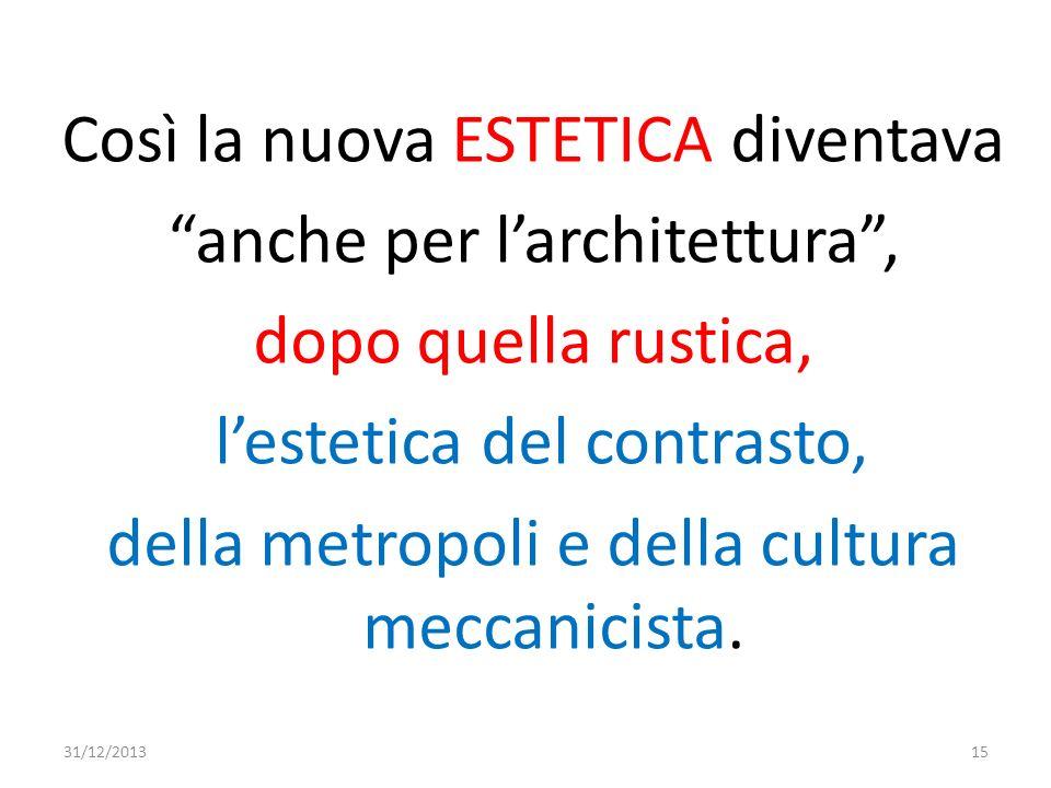 Così la nuova ESTETICA diventava anche per l'architettura , dopo quella rustica, l'estetica del contrasto, della metropoli e della cultura meccanicista.