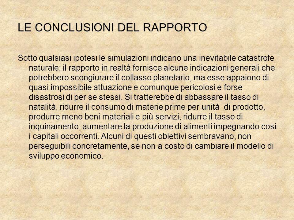 LE CONCLUSIONI DEL RAPPORTO