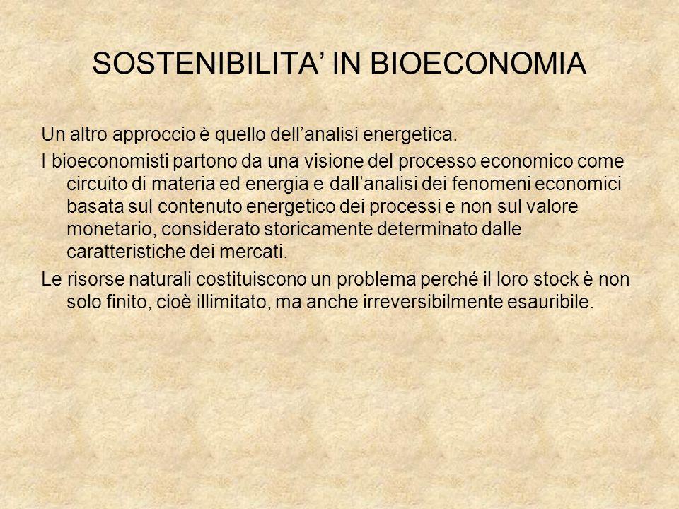 SOSTENIBILITA' IN BIOECONOMIA