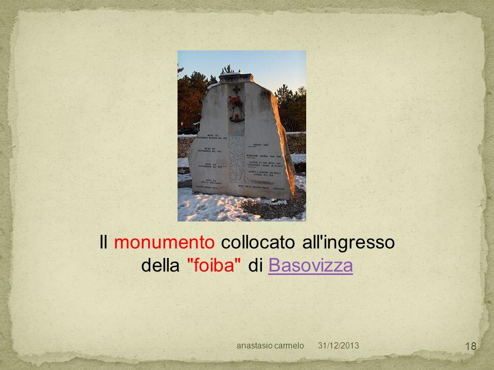 Il monumento collocato all ingresso della foiba di Basovizza