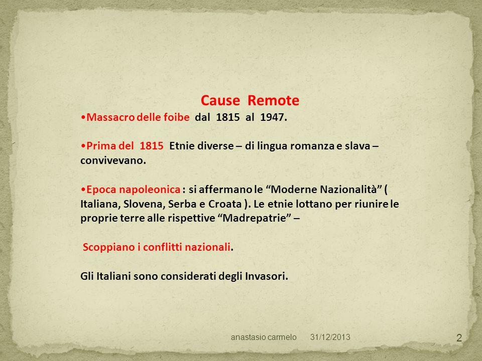 Cause Remote Massacro delle foibe dal 1815 al 1947.