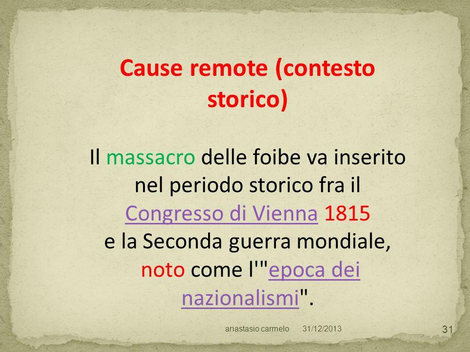 Cause remote (contesto storico)